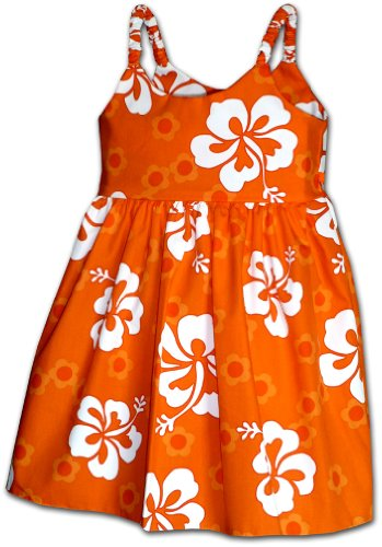 Pacific Legend Cute Hawaiian Toddler Dress Cool Hibiscus Orange 5-6 -