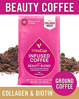 VitaCup Beauty Blend Ground Coffee Bags 12oz | Collagen, Biotin & CInnamon | Hair, Skin & Nail Health | Keto & Paleo Friendly | B Vitamins | for Drip Coffee Brewers and French Press