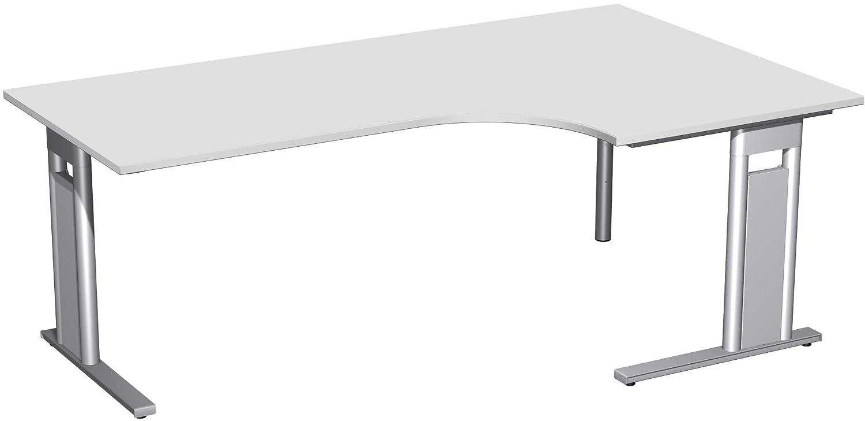 Geramöbel PC-Schreibtisch rechts starr, C Fuß Blende optional, 2000x1200x720, Lichtgrau/Silber