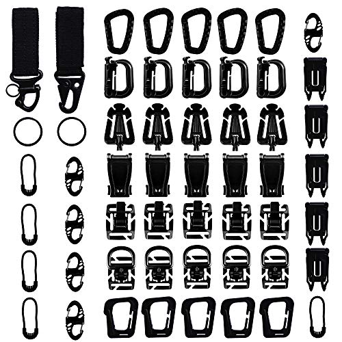 Long Buy 52 Pieces Tactical Gear Clip Strap for Molle Backpack Webbing Attachments D Ring Hook Tactical Vest Belt (Style #1) from Long Buy