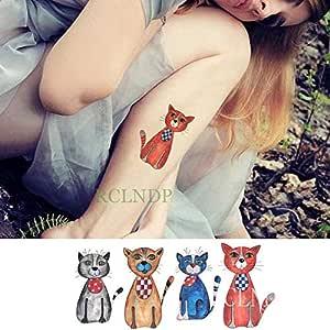 ljmljm 5 Piezas Impermeable Tatuaje Pegatina Gato Animal Tatto ...