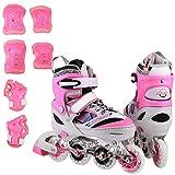 Kids Inline Skates Set, Adjustable Inline Skate Rollerblades for Boys Girls Size 1 2 3 4 Outdoor Skating Birthday Gift