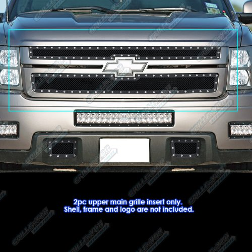 APS 07-10 Chevy Silverado 2500/3500 Black Rivet Stainless Steel Mesh Grille Grill