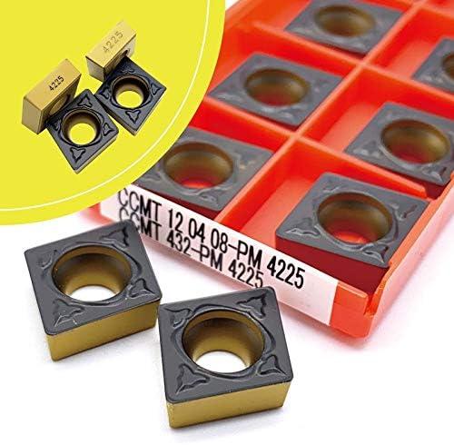 CCMT120404 Pm4225 Ccmt120408 PM 4225 Karbid-Einsätze Cutter CNC-Drehmaschine for Metalldrehwerkzeug CCMT 120404 120408 (Farbe : 10pcs(boxes), Größe : CCMT120408 PM 4225)
