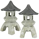 Cheap Design Toscano Asian Decor Pagoda Lantern Outdoor Statue, Large 17 Inch, Set of Two, Polyresin, Two Tone Stone
