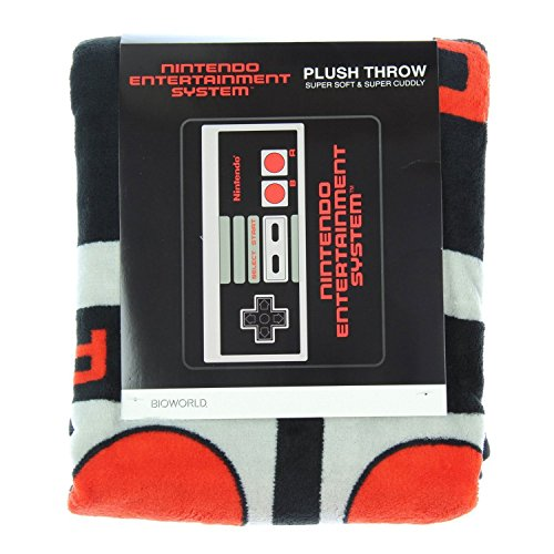 BIOWORLD-Nintendo-Retro-NES-Controller-Throw-Blanket-48-x-60