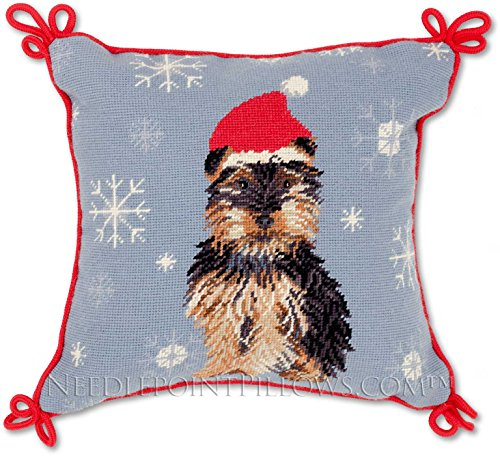 Limited Edition All Petit Point Handmade Yorkie Yorkshire Terrier Dog Santa Hat Holiday Needlepoint Christmas Pillow. 15