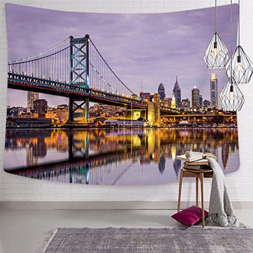 Peyqigo Wall Hanging Tapestry 60x80 Inch Polyester Ben Franklin Bridge Skyscrapers Delaware Tower Modern Cityscape Panorama Photography Bedroom Living Room Dorm Decoration Picnic Mat Beach Towel