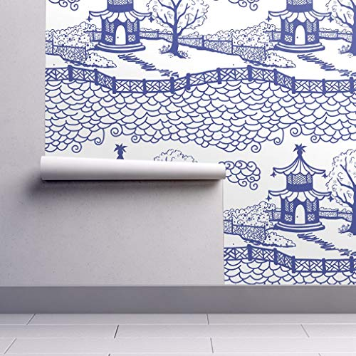 able Wallpaper - Pagoda Chinoiserie Fretwork Toile Clouds Scallop Blue and White by Danika Herrick - 12in x 24in Woven Textured Peel-and-Stick Removable Wallpaper Test Swatch ()