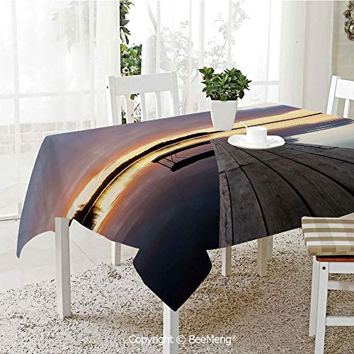 BeeMeng Large Family Picnic Tablecloth,Easy to Carry Outdoors,Landscape,Serenity Relaxing Themed Port Pier Wooden Rustic Image of Dawn Sunset in Lake Art,Multicolor,59 x 104 inches (Pier Right Lighted)