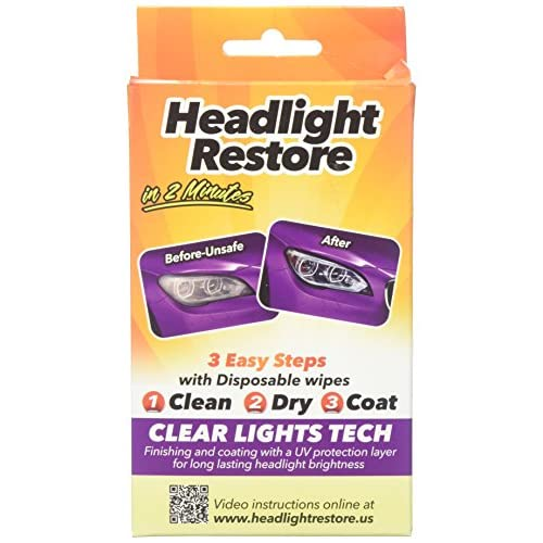 Clear Lights Tech - RH1 Lingettes d'entretien pour lampes frontales, nettoyage en 2minutes, avec couche protectrice anti-UV hot sale