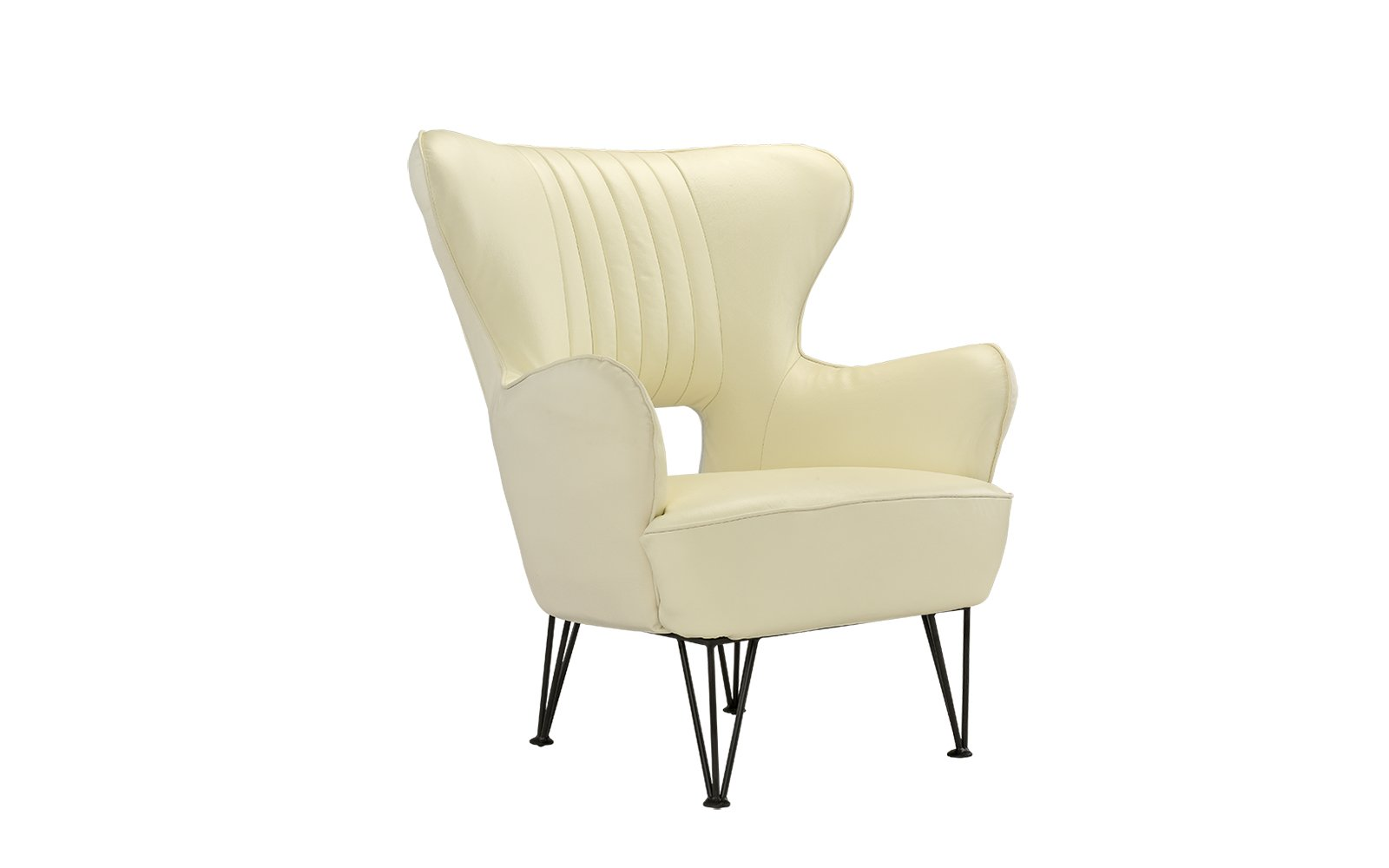 Modern Leather Accent Armchair with Shelter Style Living Room Chair (Beige) - Armchair with a futuristic yet mid-century modern feel with shelter frame and other modern accents. Features real leather match upholstery with a pleated detail on back rest and pin-legs. Hardwood frame with upholstery in various colors to best fit your decor and style. Tight seat filled with high density foam with comfort foam around frame and back as well. - living-room-furniture, living-room, accent-chairs - 51qhTmF4jHL -