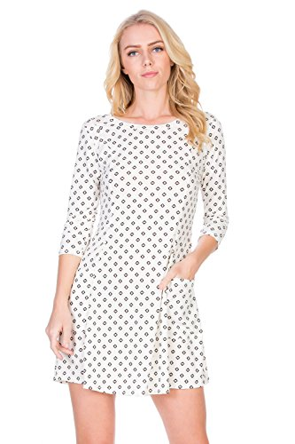 1722 Spandex (HerShe Women's Casual Pocket A-Line Loose Fit Comfy Tunic Dress (D3377CLCB Ivory Black, 3X-Large))