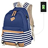 Girls School Backpakc Striped Canvas Backpack Hight School Bag Women Casual College Laptop Backpack Blue