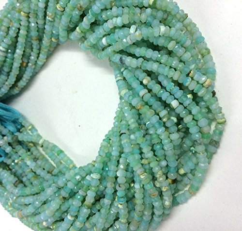 Necklace Opal Peruvian (AAA quality Peruvian blue opal faceted rondelle loose gemstone beads 3.5mm-4mm 13.5