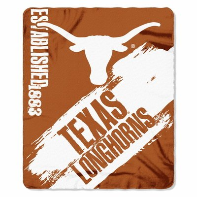 The Northwest Company 1 Pc, Texas Longhorns Blanket 50x60 Fleece College Painted Design, 100% Polyester, Big Team Logo & Graphic Background, Decorative Binding Around Edges, Machine Washable