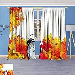 Twigs Fashion Design Print Thermal Insulated Blackout Curtain Autumn Leaves and an Alarm Clock Fall Season Theme Romantic Digital Print White with Tops for Bedroom