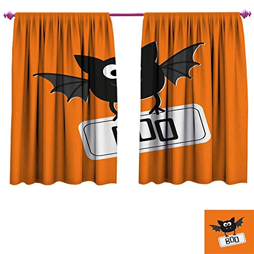 Halloween Window Curtain Drape Cute Funny Bat with Plate Boo Fangs Scare Frighten Seasonal Cartoon Print Customized Curtains W63 x L45 Orange Black White -