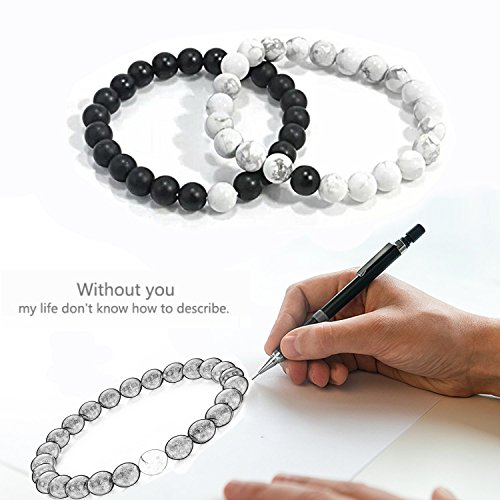 J.Fée Relationship Couples Bracelet His-and-Hers Matte Black Onyx White Howlite Distance Bracelet 7in&8in (7 inch White&Black) by J.Fée (Image #2)
