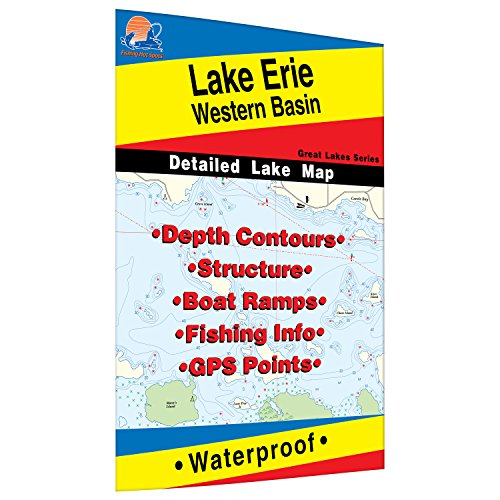 Erie Fishing Map, Lake-Western Basin Fishing Map, Lake Fishing Map