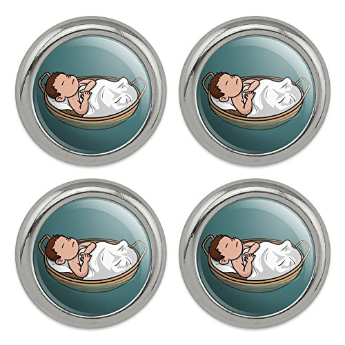 Baby Moses in a Basket Christian Metal Craft Sewing Novelty Buttons - Set of -