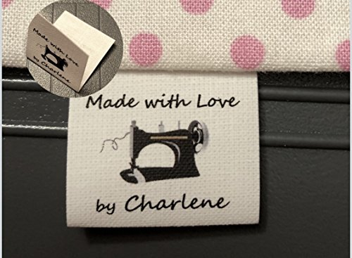 40 Custom NO FRAY Precut Cotton Loop Fold Sewing Label/tags with black Sewing Machine Graphic-made in USA