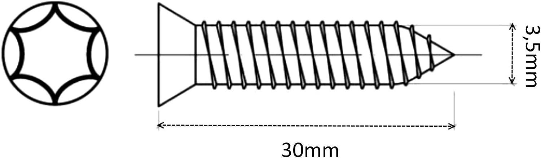 AERZETIX 100x Tornillos para Madera con Cabeza c/ónica 3.5//30mm Acero galvanizado Huella Torx C41585