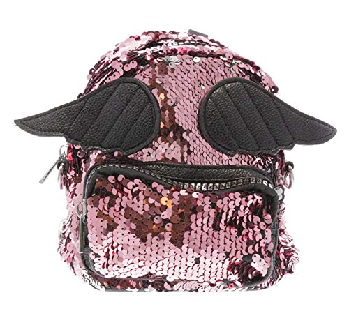 Little Angel Kids Backpack - Doe a dear Mini Glitter Sequin Backpack w/ Angel Wings | Pretend Play Purse | Free Hair Clip | Multi Color | One Size | for Kids, Toddler, Teenage Girls, Bolsa para Ninas (Pink)