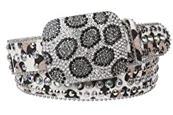 Animal Print Leather Belt with Crystal Buckle