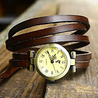 Amazon.com: Candy princess vintage 5 ring cowhide belt Watch ...