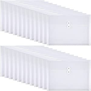 Yoeejob Plastic Envelopes Legal Size with String Tie Closure, Clear Poly Envelope Expandable Plastic Folders, Document Paper File Organizer for Home Work Office, 24 Pack, White