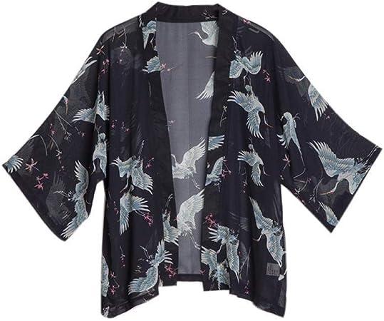 SYXYSM Japonesas De Las Mujeres Kimono Yukata Kimono Rebeca De La Manera Mujeres Blusa Larga Chaqueta De Punto De La Manga Kimonos Tradicionales (Color : 2, Size : One Size): Amazon.es: Hogar