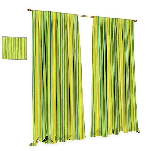 cobeDecor Lime Green Window Curtain Drape Pastel Toned Vertical Bands Striped Lines Geometric Figures Soft Print Decorative Curtains for Living Room W96 x L96 Pale Green Yellow
