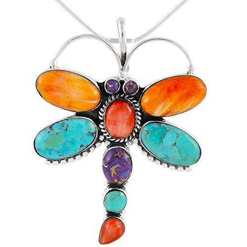 - Dragonfly Turquoise Necklace Pendant Sterling Silver Genuine Turquoise & Gems (20