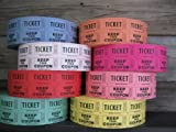 Raffle Tickets - 4 Rolls of 2000 Double Tickets. Total 8,000 50/50 Raffle Tickets (4 Assorted Colors)