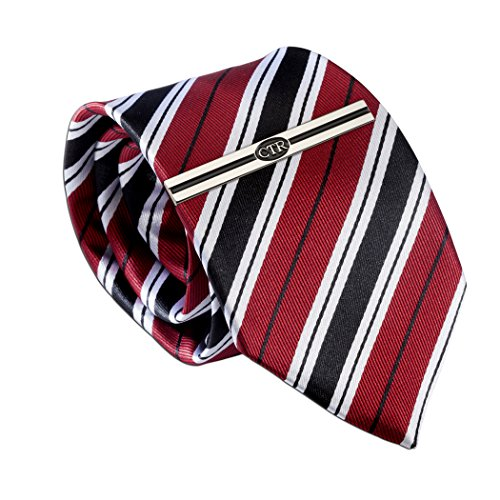 Boys Red Stripe Tie and CTR Tie Bar for Baptism, 45-inch ()
