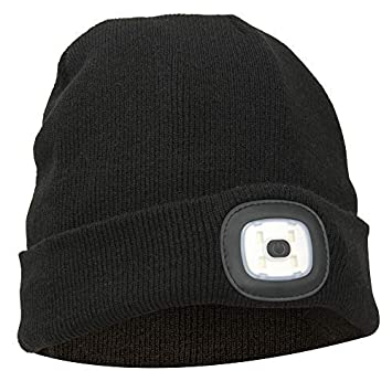 81c5c45a01f2e Thinsulate Warm Bright LED Lit Beanie Cap Unisex Hat with Rechargeable  Front Facing Headlamp with 4 LEDs Shining with A 3 Metre Beam