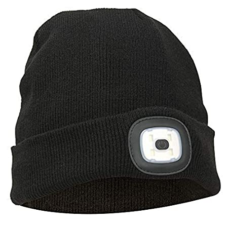 840eab0e95d Thinsulate Warm Bright LED Lit Beanie Cap Unisex Hat with Rechargeable  Front Facing Headlamp with 4 LEDs Shining with A 3 Metre Beam