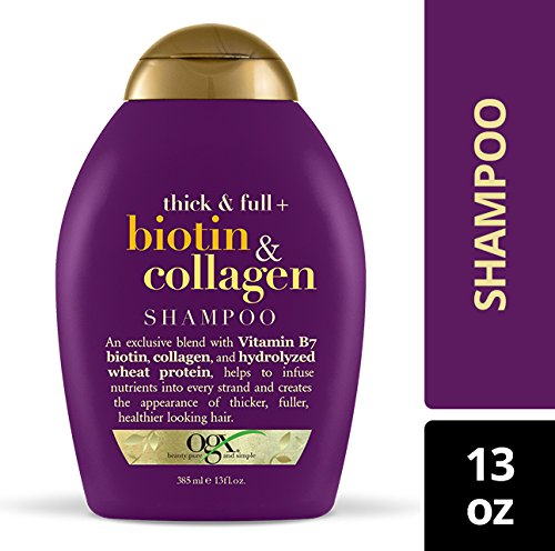 OGX Shampoo with Thick and Full Collagen, Bottle, Free, Free, Ingredients, and
