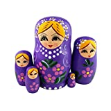 Set of 5 Blonde Girl Pink Flower Purple Wooden Nesting Dolls Matryoshka Russian Doll Popular Handmade Stacking Toys Kids Gifts Christmas New Year Home Decoration