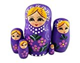 Winterworm Set of 5 Blonde Girl Pink Flower Purple Wooden Nesting Dolls Matryoshka Russian Doll Popular Handmade Stacking Toys Kids Gifts Christmas New Year Home Decoration