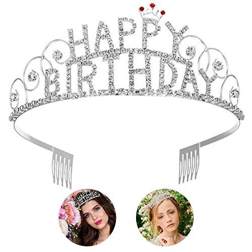 Frcolor Happy Birthday Tiara Crystal Rhinestone Crown Tiara Wedding Hair Comb Bridal Birthday Headband for Women
