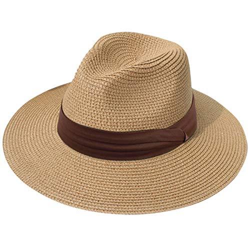 JOYEBUY Womens UPF50 Foldable Summer Straw Hat Wide Brim Fedora Sun Beach hat (Style C-Brown)