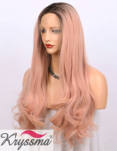 Kryssma Orange Pink Lace Front Wig Ombre - Dark Brown Roots #4 to Mixed Rose Pink Long Natural Wavy Gluless Synthetic Wigs for Women Middle Parting Replacement Full Wig 22 inch ( B010500 )