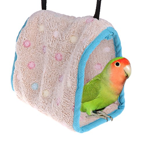 - SCASTOE Bird Plush Hammock Hut, Parrot Hanging Bed Cage Hammock Cage Cave Snuggle Soft Tent Bed Pad (S)