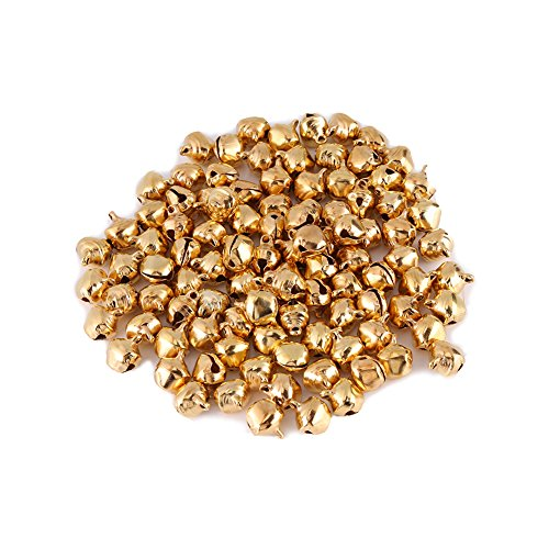 Small Jingle Bells, 300pcs Mini Loose Beads Pendants for DIY Christmas Tree Decoration Party Gift 10mm(10mm, Gold)