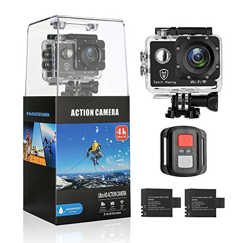 Epoch Making Action Camera, 4K Ultra HD WIFI Waterproof Sports Action Camera With 2-INCH LCD For Racing,Riding,Motorcycle,Surfing,Diving,Snorkeling,and More Water Sports by Epoch Making