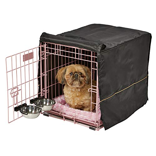 (Pink Dog Crate Starter Kit | 24-Inch Dog Crate Kit Ideal for Small Dogs Weighing 13-25 Pounds | Includes 1 - Door Dog Crate, Pet Bed, 2 Dog Bowls & Crate Cover | 1-Year Midwest Quality Guarantee)