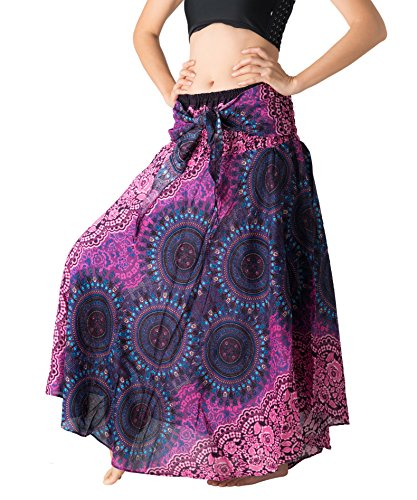 Bangkokpants Women's Long Hippie Bohemian Skirt Gypsy Dress Boho Clothes Flowers One Size Fits (Bohorose Pink, One Size) -