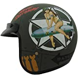 Vega X380 Helmet with Bombs Away Graphics (Flat Green, Large)